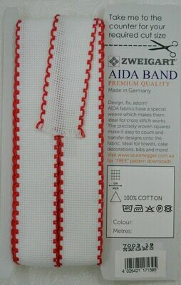 Aida Band 30mm White / Red Trim (7003.19) /10cm increments