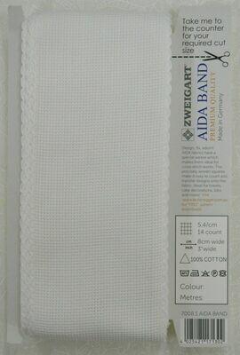 Aida Band 80mm White / White Trim (7008.1) /10cm increments
