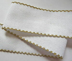 Aida Band 50mm White / Gold Trim (7101.181) /10cm increments