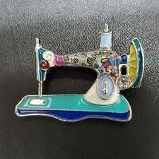 Brooch - Enamel Sewing Machine Design