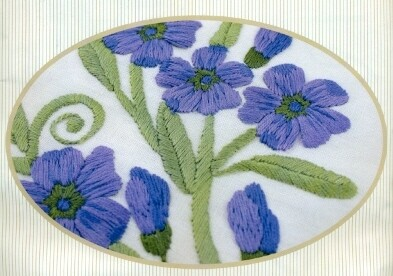 Beutron - Traced Linen Lilac Flowers Table Topper (14260.01)