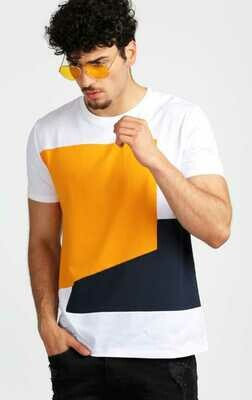 Round Neck White, Yellow, Blue T-Shirt