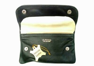 La Rocca Box Snap Fold-up Genuine Leather Tobacco Pouch