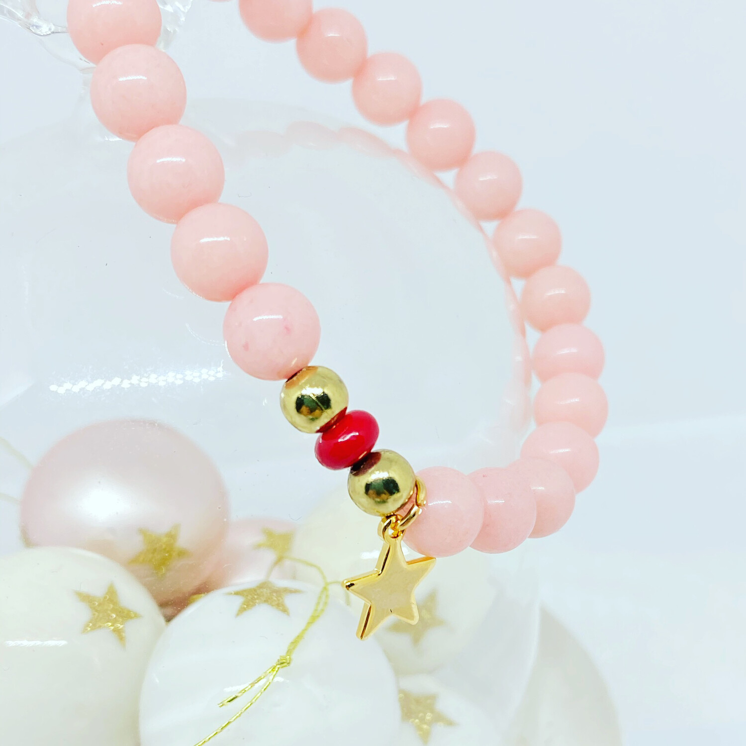 Baby pink And Red One Off Bracelet