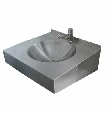 Waschbecken aus Edelstahl, mit Hahnloch