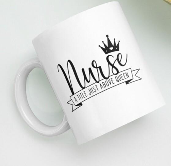 Nurse is above a queen. mug