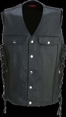 Z1R Motorcycle Vest Black Leather 30-30 2XLarge (2830-0350)