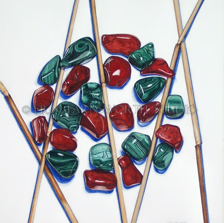 """Malachite, Reeds and Red Jasper"" 8.5 x 11 print"