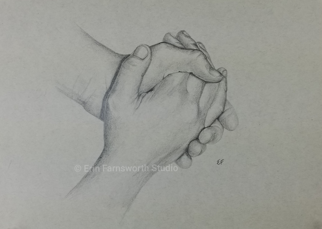 """Seven year old hands,"" original graphite drawing."