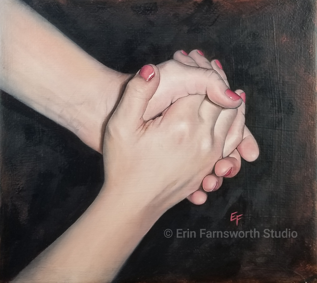 """""""Seven year old hands"""" original oil painting on gessoed, stretched paper."""