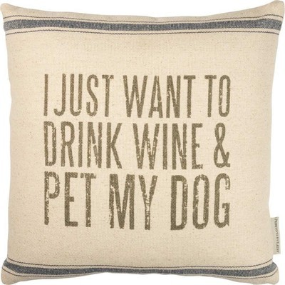 Drink Wine & Pet Dog Pillow