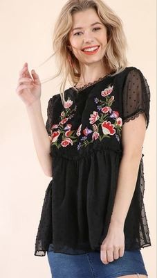 Black Short Sleeve Floral Embroidery Babydoll Top