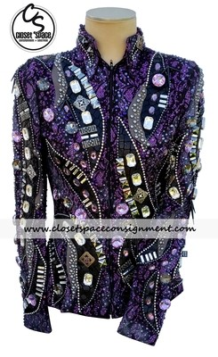'Western Pleasures' Black, Purple & Gray Jacket
