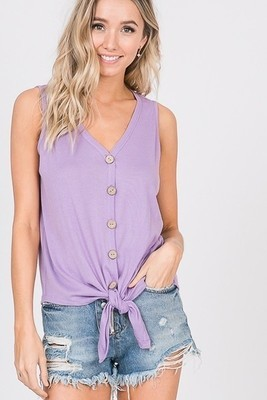 Lavender Button Tie Tank