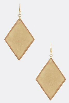 Yellow Leather Rhombus Earrings