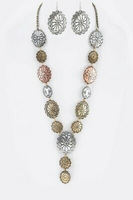 Mixed Concho Necklace