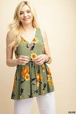 Olive Floral Lace Tank