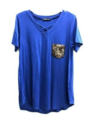 Royal Blue Gold Sequin Pocket Tee