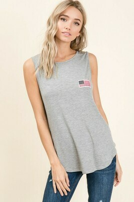 Heather Gray Flag Tank