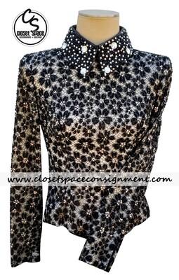 'Lindsey James' Black & Ivory Floral Top