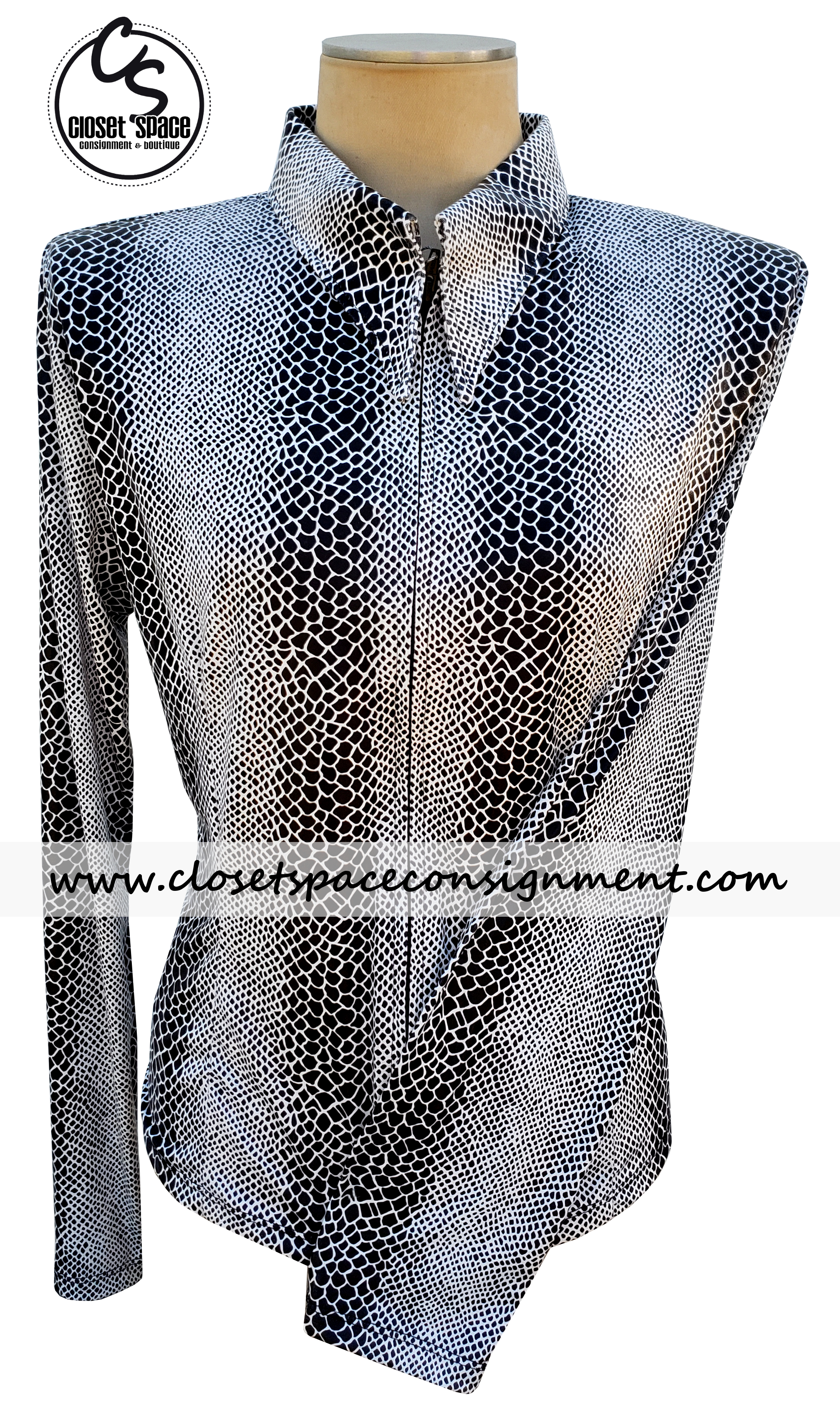 ​'Lisa Nelle' Black & White Snakeskin Shirt - NEW MA1