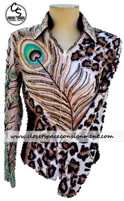​'Showtime' Black, White & Bronze Feather & Leopard Jacket