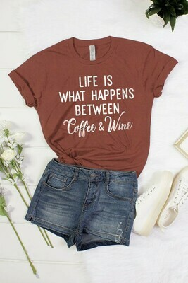 Burgundy 'Life Is What Happens' Tee