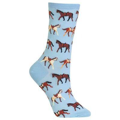 Women's Light Blue Horses Socks
