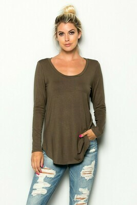 Olive Solid Long Sleeve