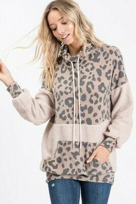Taupe Leopard Fleece Cowl