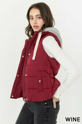 Wine & Gray Hood Quilted Vest