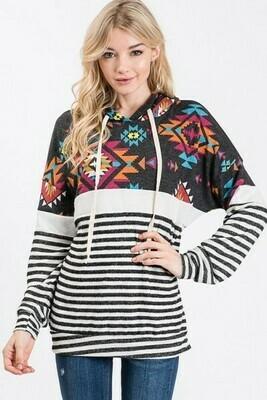 Black & Ivory Stripe Aztec Hoodie