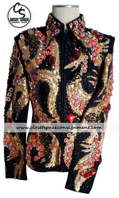 ​'Expressions' Black, Gold & Red Jacket