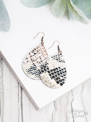 Beige Snakeskin Leather Teardrop Earring