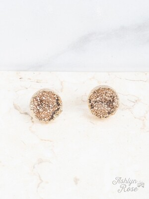 Druzy Stud Rose Gold