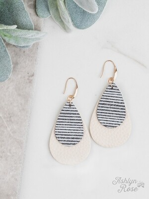 Black Stripe Glitter on Cream Teardrop Earring
