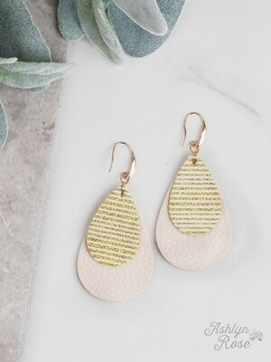 Gold Stripe Glitter on Cream Teardrop Earring