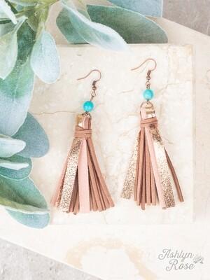 Tan & Turquoise Suede & Metallic Tassel Earring