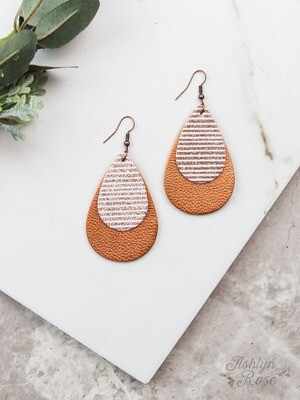 Copper Stripe Teardrop Earring