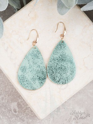 Mint Green Metallic Teardrop Earring