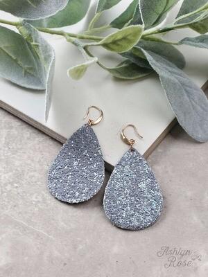Silver Glitter Teardrop Earring