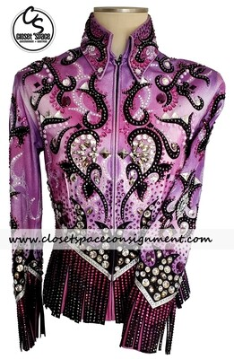 ​'Nadine Rogers' Black, Purple & Pink Fringe Jacket
