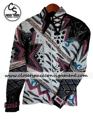 'LLouise' Black, White, Turquoise & Pink Jacket