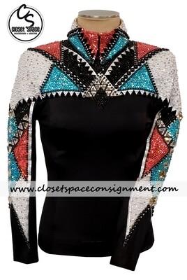 'Kara Langeland' Black, White, Turquoise & Coral Top