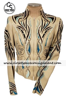 ​'Paula's' Tan, Turquoise, Bronze & Black Leather Jacket