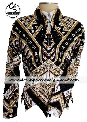 ​'Showtime' Black, Gold & White Jacket