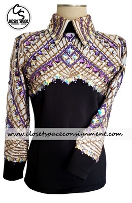 'Wicked Crystals by Christie' Black, White, Gold & Purple Top - NEW