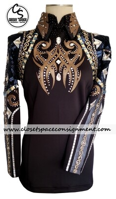 ​'Wicked Crystals by Christie' Black, Blue, Silver, Gold & Bronze Shirt & Bolero Set - NEW