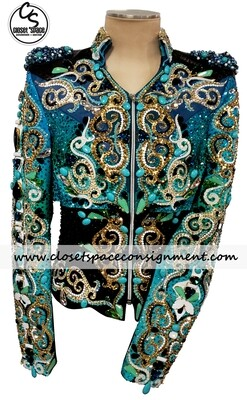 ​'Piccola Rosa' Black, Turquoise & Gold Jacket