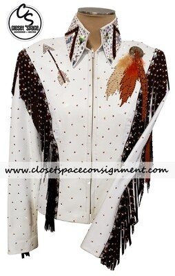 ​'The Ultimate by Jean' White, Rust & Brown Leather Fringe Jacket